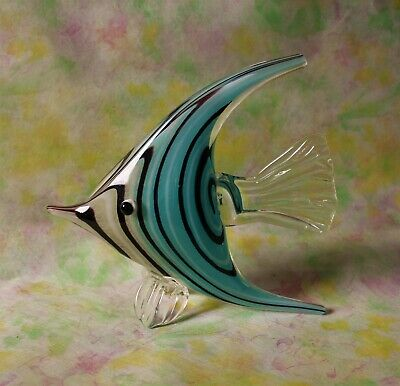 Beautiful Art Glass Fish Sculpture Angelfish soft blue
