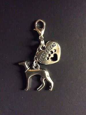 Greyhound Whippet Lurcher Dog Best Friend charm clip