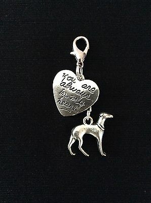 Greyhound Whippet Lurcher Always in my Heart Charm