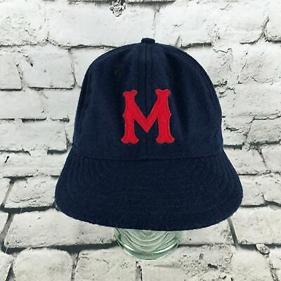fbec56fc Vintage M Monogrammed Mens Sz 7 3/8 Hat Navy Blue Fitted Baseball Cap
