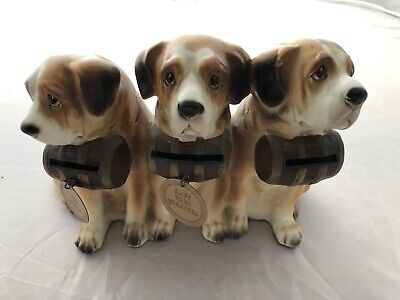 St. Bernard~Vintage Coin Bank, 3 St. Bernards, Ceramic, Great Collectible Item!!