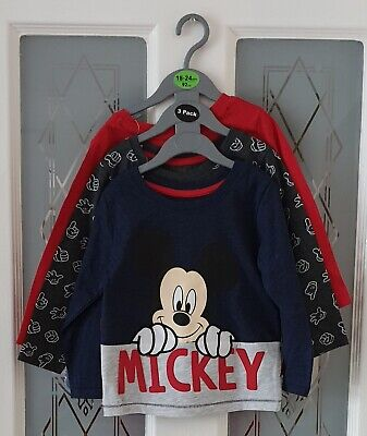 25f318c17 Primark Disney 3 Mickey Mouse Tops Long Sleeve T Shirts Size 18-24 Months  BNWT
