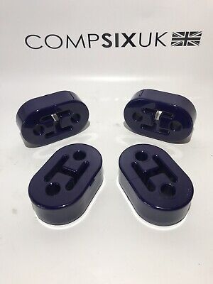4x Car Polyurethane Rubber Exhaust Tail Pipe Mount. Blue.