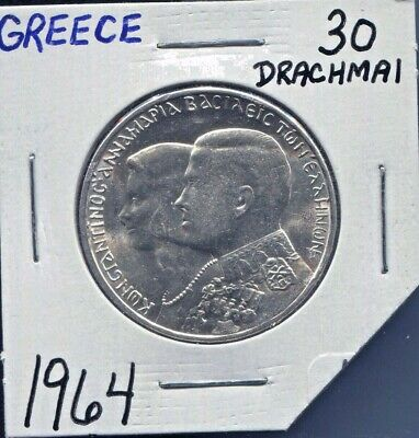 Greece - Fantastic Constantine & Anne-Marie Wedding Silver 30 Drachmai, 1964