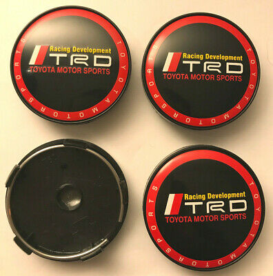 4 x TRD Motor Sport Red 60mm Wheel Centre Hub Caps New Center Caps Base (Black)