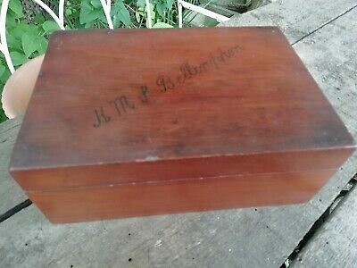Antique Edwardian Mahogany Box Top Inscribed 'HMS Bellerophon' Circa 1906