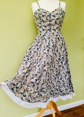 Vtg 1940's Dress 8 Blue Ditsy Floral Print Lace Wartime WW2 Landgirl Tea Period