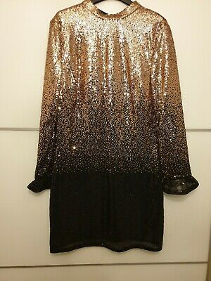 d0bc32a029ef New Designer ABBEY Clancy X Lipsy rose gold Ombre Sequin Dress Size 14 RRP  £75