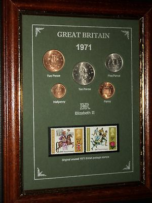 FRAMED 1971 COIN STAMP SET (RETRO 48th BIRTHDAY PRESENT WEDDING ANNIVERSARY GIFT
