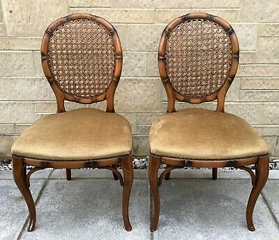 Pair Of Vintage French Style Parlour Boudoir Chairs ~ Shabby Chic