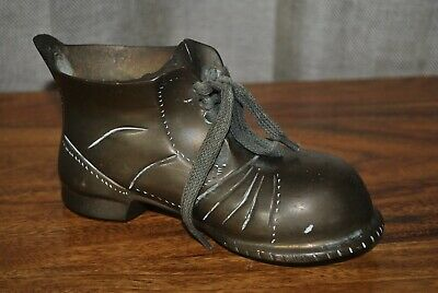 Solid Brass Boot w laces - heavy unusual vintage ornamental pot planter