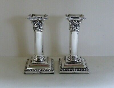 Pair of Antique Sterling Silver Candlesticks, Sheffield 1917, William Hutton