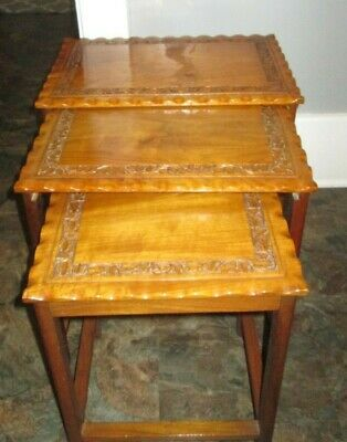 3 Hard Wood Nesting Tables CARVED EDGES INDIA