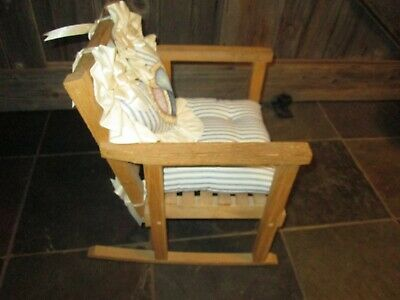 Vintage Child's Wooden Rocking Chair Rustic Rocker Slatted CUSHIONS DOLL BEAR