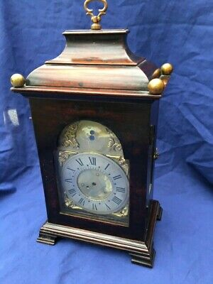 Antique Miniature Mahogany Bracket Clock Case And Dial Georgian 1780