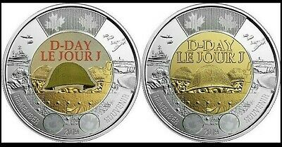 2019 75th D-Day COLOURED & NON-COLOURED UNC CANADA $2 TOONIE COIN