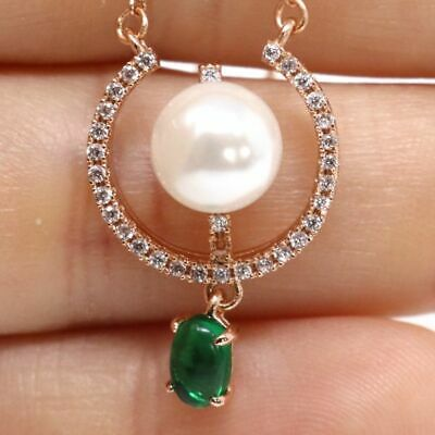 Vintage Antique Green Emerald White Akoya Pearl Necklace 14K Rose Gold Filled