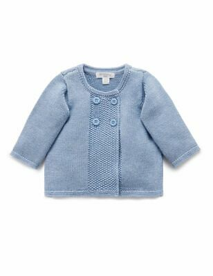 New Purebaby Mid Blue Melange Boys Textured Cardigan By OZSALE