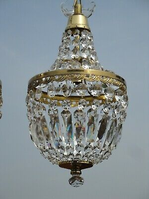 Very Fine Vintage French Lead Crystal, Brass Empire Bag Chandelier.