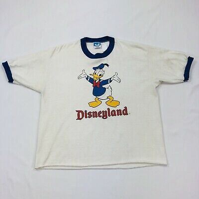 a90581aad Vintage 1980s Disneyland Donald Duck T-Shirt Size Xl White With Blue Trim  Crop