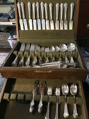 Sterling Silver DURGIN ESSEX Silverware Set 119 pcs, Monogram F  121 troy ounces