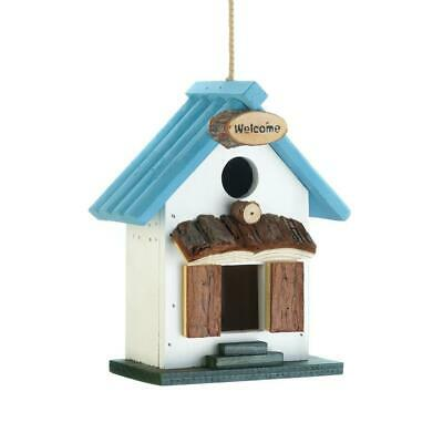 BLUE Rooftop BIRDHOUSE Birds FEEDER Yard DECOR US SHIPPER NEW ITEMS