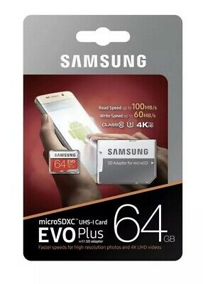 Samsung 64GB Micro SD Card SDHC EVO+ 100MB/s UHS-I Class 10 Adapter Memory Card