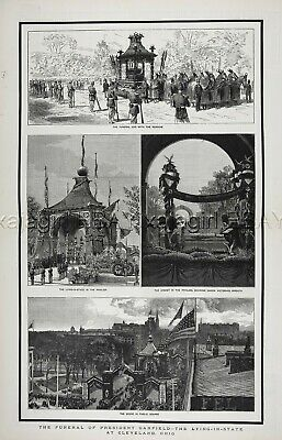 President Garfield Funeral Horse-Drawn Hearse Cleveland Huge 1880s Antique Print