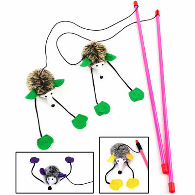 Kitten  Toy Mouse On A Rod Teaser Feather Play Pet Dangler Wand NEW
