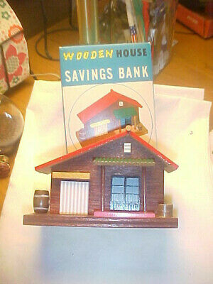 Wooden House Savings Bank Mint in Box Vintage Made in Japan
