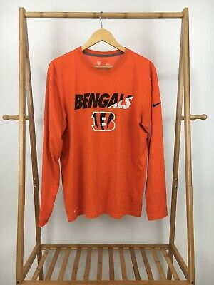 21981551 Nike Men's Dri-Fit NFL Cincinnati Bengals Swoosh Orange Long Sleeve T-Shirt  Sz