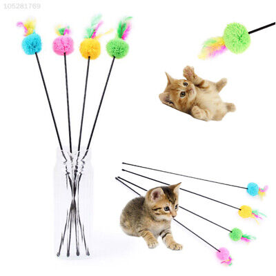 BEEC Cat Kitten Toy Pet Supply Ball Rod Wand Teaser Feather Play Random Color