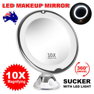 10x Magnifying Makeup Mirror With LED Light Cosmetic Vanity Bathroom Suction OZ