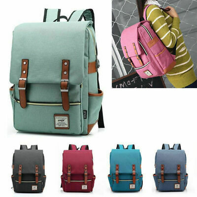 Women Men Canvas Leather Travel Sports Backpack Satchel Rucksack Laptop Bag