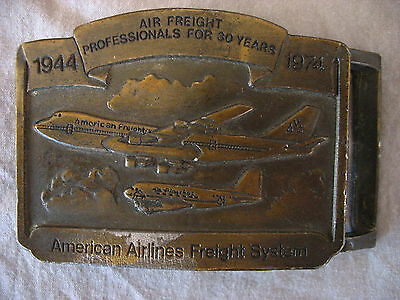 AMERICAN AIRLINES FREIGHT SYSTEM Belt Buckle 30 Year Anniversary Boeing Aviation