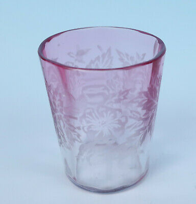 Victorian Rubina Optic Etched Flower Toothpick Holder Whiskey Shot Glass Antique