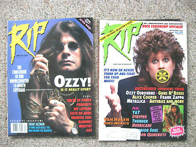 Lot Of 2 Vintage Rip Magazines Ozzy Osborn Issues 1990 1993