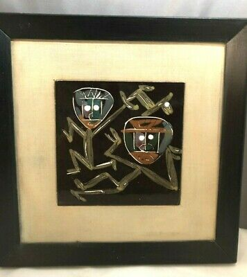 Harris Strong Early Framed Mid Century Modern Hand Painted Ceramic Tile & Frame