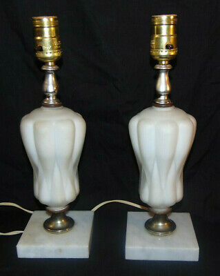 Vintage White Cased & Frosted Glass Electric Table Lamps on Marble Bases