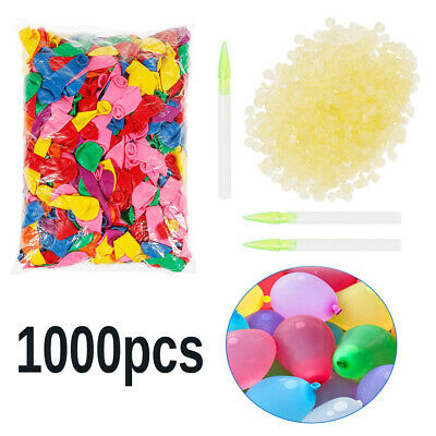 1000 Water Balloons Bombs Multi Colour Kids Summer Party Fun Toys + Filling Tool