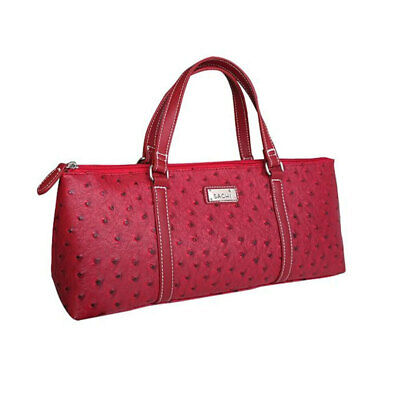 Sachi Insulated Wine Cooler Travel Bag Purse Tote Carrier/Handbag Ostrich Red