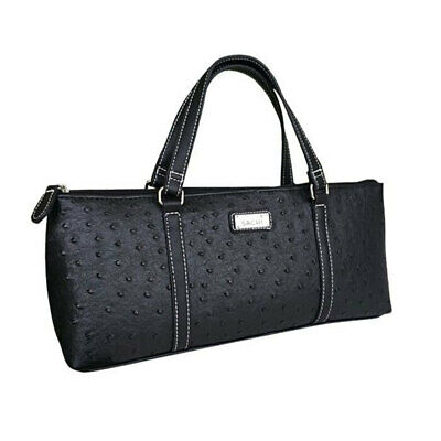 Sachi Insulated Wine Cooler Travel Bag Purse Tote Carrier/Handbag Ostrich Black