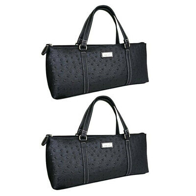 2x Sachi Insulated Wine Cooler Travel Bag Purse Tote Carrier/Handbag Ostrich BLK