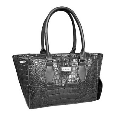 Sachi Wine Cask Tote Insulated Cooler Travel Bag Carrier/Handbag Crocodile Black