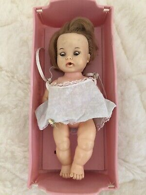 Vintage TEARIE DEARIE DOLL 1964 With Cradle and Original Dress