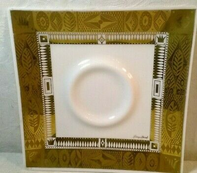Vintage Mid-Century Modern Georges Briard White Opal Glass w/Gold Square Plate