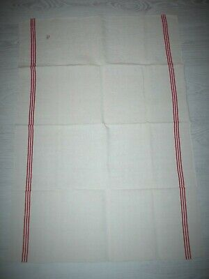 6 Large French Antique  Red Stripe Pure Linen Tea Towels / Torchons P Monogram