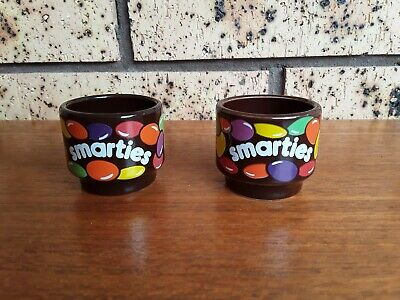 2 x Smarties Egg Cup Set: Hornsea Pottery England - Vintage Collectable Egg Cups