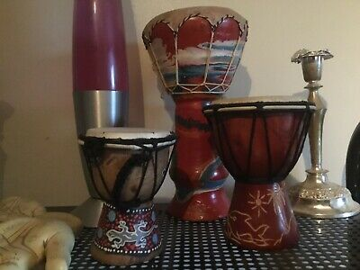 3 Djembe Drums Hand Painted Percussion Native American Shamanism Spiritual REIKI
