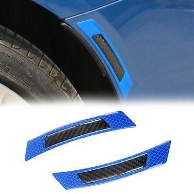 2pcs Blue Carbon Fiber Car Wheel Eyebrow Refective Edge Protector Cover Sticker